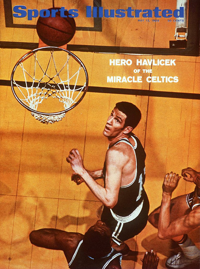 Another Celtics legend went out a winner: Bill Russell retired as a player after collecting his 11th championship, spoiling a brilliant series by Jerry West, who averaged 37.9 points and became the first (and still only) player from a losing team to be named Finals MVP. In Game 7, the Celtics nearly squandered a 17-point fourth-quarter lead, but, thanks in part to Don Nelson's famous last-minute shot near the free-throw line, held on to win 108-106. The Lakers never did get to use all those balloons stored in the Forum rafters in anticipation of a victory celebration.