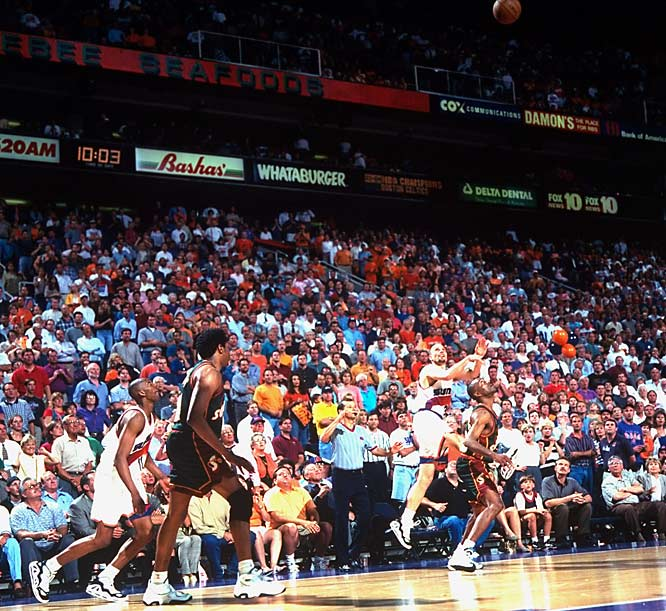 With the Suns trailing by three points late in Game 4 of the '97 Western Conference playoffs, Rex Chapman took an inbounds pass while heading out of bounds and flung up a running jumper with 1.9 seconds left to tie the game. Phoenix would go on to lose the contest and the series, but Chapman's incredible shot lives as one of the NBA's all-time great highlights.