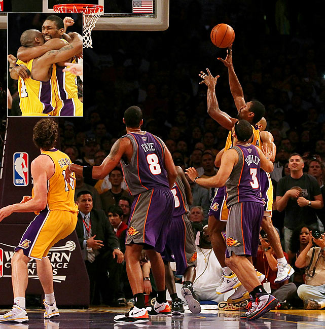 Ron Artest's buzzer-beating put-back in Game 6 of the 2010 Western finals against Phoenix handed the Lakers a 3-2 series lead and put them a game away from returning to the Finals.