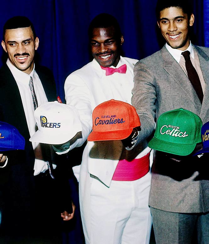 No. 4 pick Person (middle) stood out in this photo alongside No. 5 Kenny Walker (left) and No. 1 Brad Daugherty.