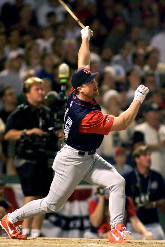 Reigning single-season HR king Mark McGwire lived up to his title by blasting 13 home runs over the Green Monster in Fenway Park to open the 1999 Derby. McGwire would falter in the second round though as Ken Griffey Jr. took his second consecutive crown.