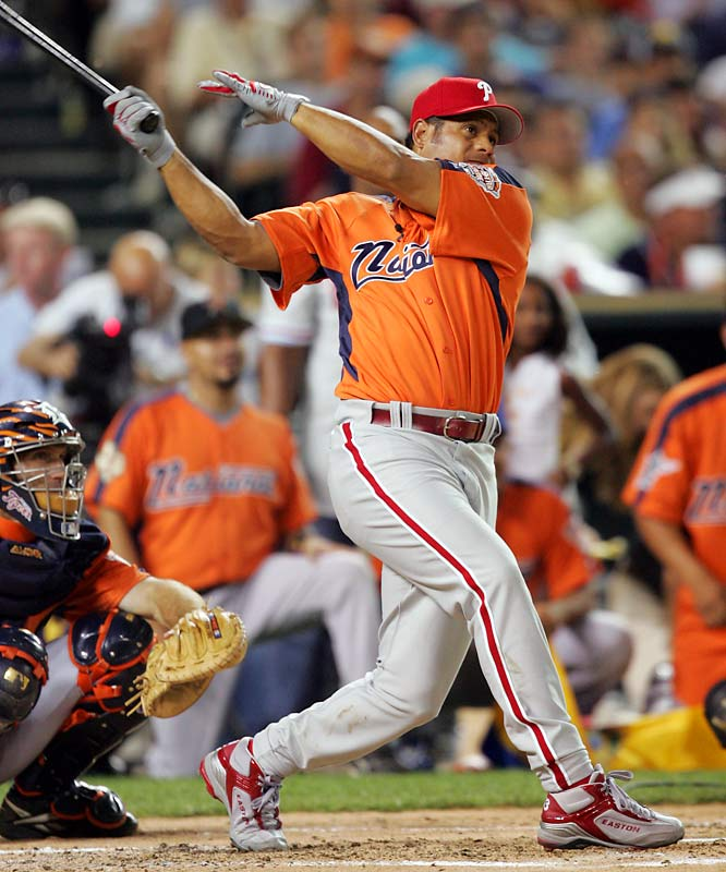 In 2005 at Detroit's Comerica Park, Philly's Bobby Abreu went ballistic in the first round with a record 24 home runs in the first round and belted another 11 in the finals to defeat Pudge Rodriguez. Abreu would hit 41 total for the Derby to set an overall record. Ironically, Abreu would hit only six home runs in the second half of the season.