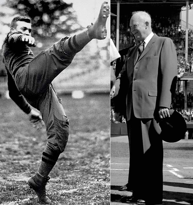 A few years after his football career at West Point ended with a knee injury, Eisenhower became a little better known as a war hero and the 34th President of the United States.