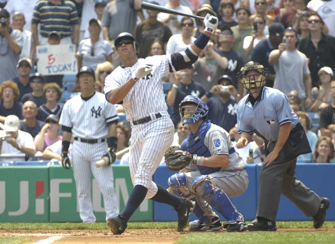 Alex Rodriguez becomes the 22nd and youngest player (32 years and 8 days) to hit 500 career home runs. The historic three-run homer is hit into the left-field seats at Yankee Stadium, making A-Rod and Mickey Mantle the only two players to reach the milestone in the Bronx.