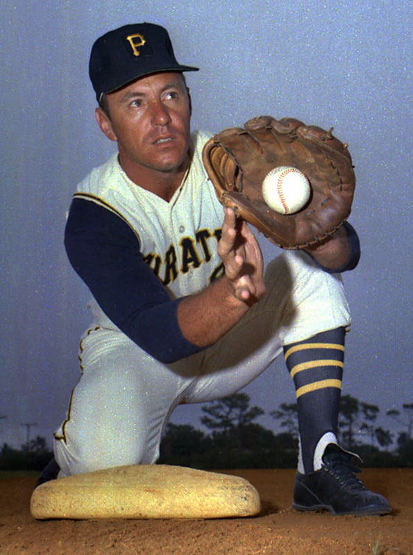 Bill Mazeroski's uniform jersey No. 9 is officially retired by the Pittsburgh Pirates.