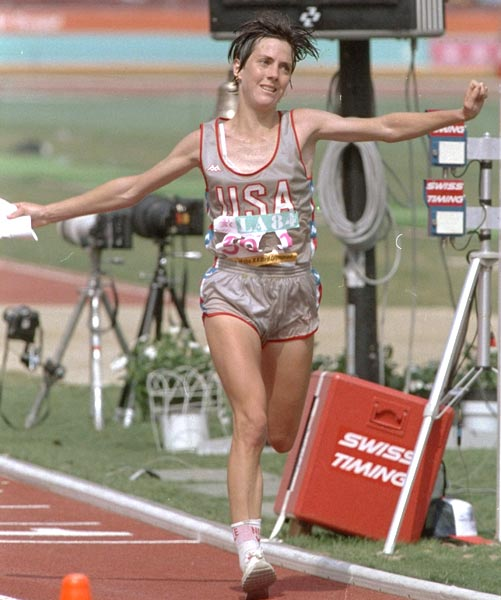 Joan Benoit wins the first Olympic marathon for women.