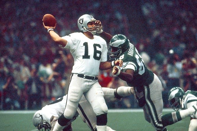 Behind Ron Jaworski and a defense that had allowed the fewest points in the league during the regular season, Philadelphia beat Oakland 10-7 during the regular season. But Jim Plunkett threw for 261 yards and three touchdowns to make Oakland the first Wild Card team to win the Super Bowl.