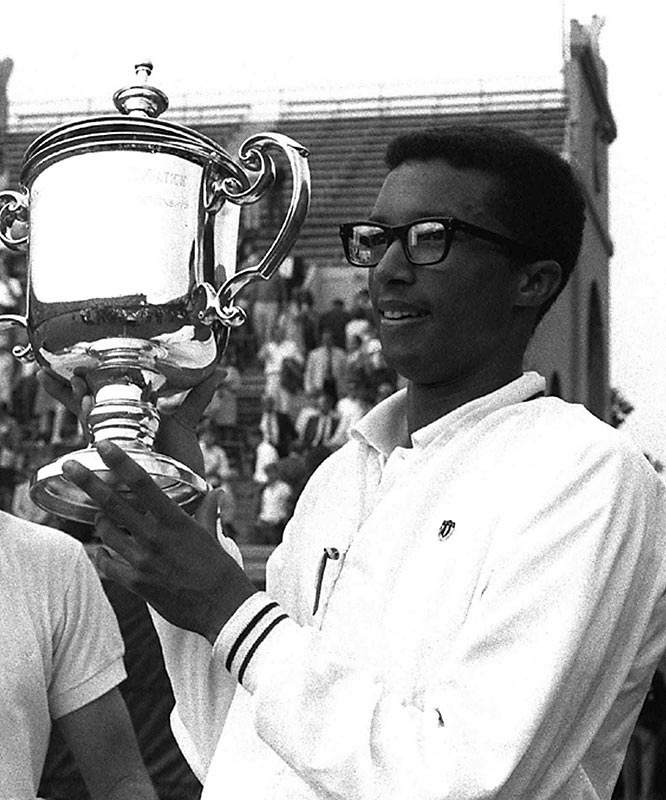 Arthur Ashe defeats Tom Okker to win his only career U.S. Open title.