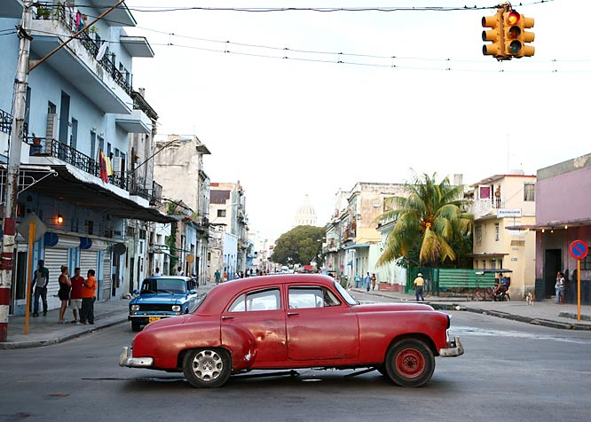 An old hulk found a bad spot to break down--in the middle of a Havana intersection.
