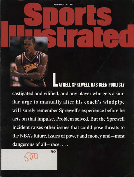 Golden State guard Latrell Sprewell attacks his coach, P.J. Carlesimo, during a practice and is suspended for the rest of the season.