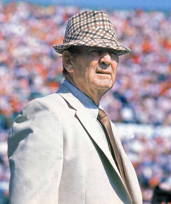 """Paul """"Bear"""" Bryant announces his retirement as head football coach at the University of Alabama. In 25 years in Tuscaloosa, Bryant recorded a 232-46-9 record with six national championships."""