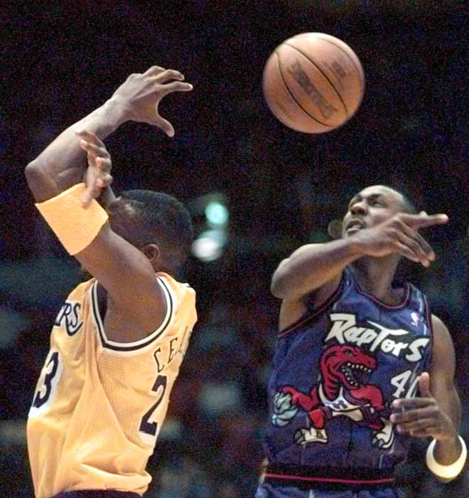Toronto's Alvin Robertson picks up three steals in the Raptors' 122-103 loss at Boston, becoming the third NBA player to move past 2,000 career steals.