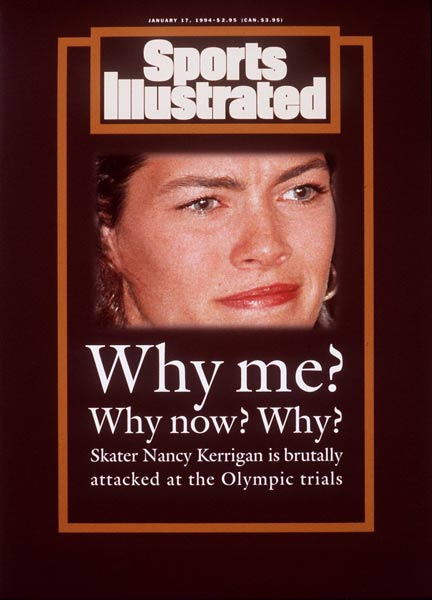 Ice skater Nancy Kerrigan is attacked by Tonya Harding's bodyguard, Shane Stant.