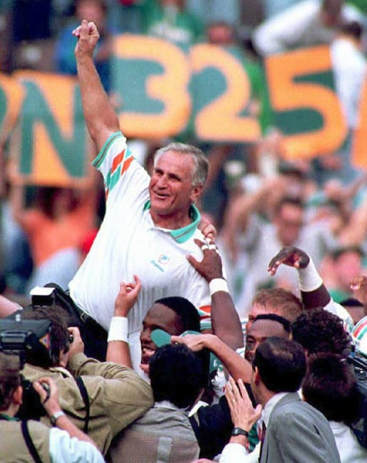 Don Shula steps down as head coach of the Miami Dolphins after his team losses to Buffalo in the playoffs. The winningest coach in NFL history resigns with 347 wins.