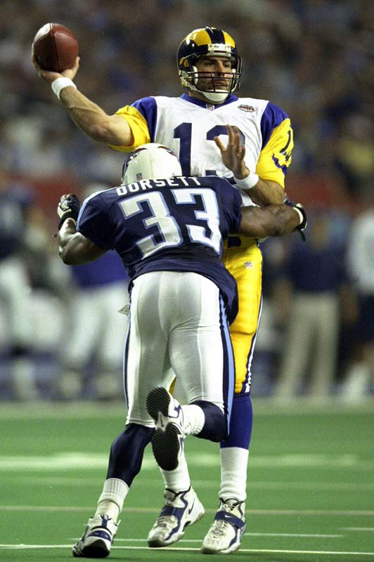 The greatest storybook season in NFL history -- Warner's rise from supermarket stock boy to Super Bowl MVP -- ended with the most prolific passing performance in Super Bowl history. Warner's 414 yards are a record for the big game, and it was highlighted by a gorgeous 73-yard rainbow to Isaac Bruce for the game-winning score with 1:54 to play in the Rams 23-16 win over Tennessee. Pittsburgh beware: Warner's 377 yards in a losing effort against Pittsburgh in Super Bowl XLIII are the second most in Super Bowl history.