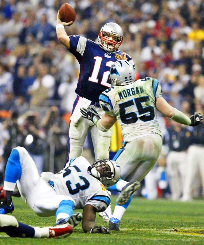 Brady produced the first and only walk-off Super Bowl-winning scoring drive two years earlier. He essentially pulled off the same feat again in this 32-29 win over Carolina. In a fourth quarter shootout for the ages, Brady led the Patriots to 11 points in the last three minutes -- including a TD toss to linebacker Mike Vrabel -- and a game-winning field goal with four seconds on the clock. Brady secured his legacy as a big-game legend with his second Super Bowl MVP trophy, while completing a Super Bowl-record 32 passes.