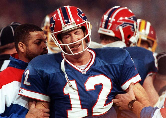 Jim Kelly boasts plenty of Hall of Fame credentials. Great performances in the Super Bowl are not among them, and this 40-car pileup at rush hour in this 37-24 loss to Washington was the most disastrous of the bunch. The prolific Bills offense failed to score a single first-half point and Kelly's frantic comeback effort (Super Bowl record 58 attempts) produced too little too late. Even worse: The enduring image of the game is a glassy-eyed Kelly being helped off the field by Buffalo staff after suffering an injury.