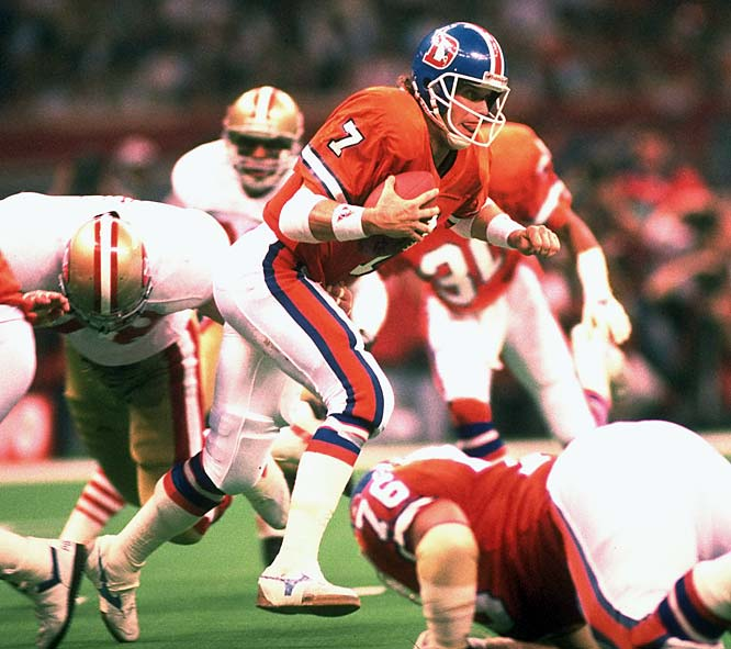Elway played poorly in the three Super Bowl losses that threatened to define his career before he rode out in a blaze of back-to-back championship-winning glory. Few efforts were more putrid than this Bhopal chemical-spill of a disaster in this 55-10 debacle. The performance looks more gruesome when contrasted against the best-ever Super Bowl effort Joe Montana orchestrated when the San Francisco offense stepped on the field after every failed Denver drive.