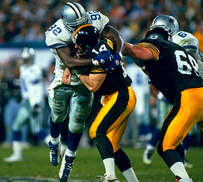 O'Donnell had a rather respectable effort, other than the fact that he threw two beautiful passes into the arms of wide-open Cowboys cornerback (and SB MVP) Larry Brown, which set up two Dallas touchdowns in the Boys 27-17 victory. They remain two of the more inexplicable passes in Super Bowl history, they launched a cottage industry of conspiracy theories, they were the difference in a game in which the Steelers were otherwise quite competitive.