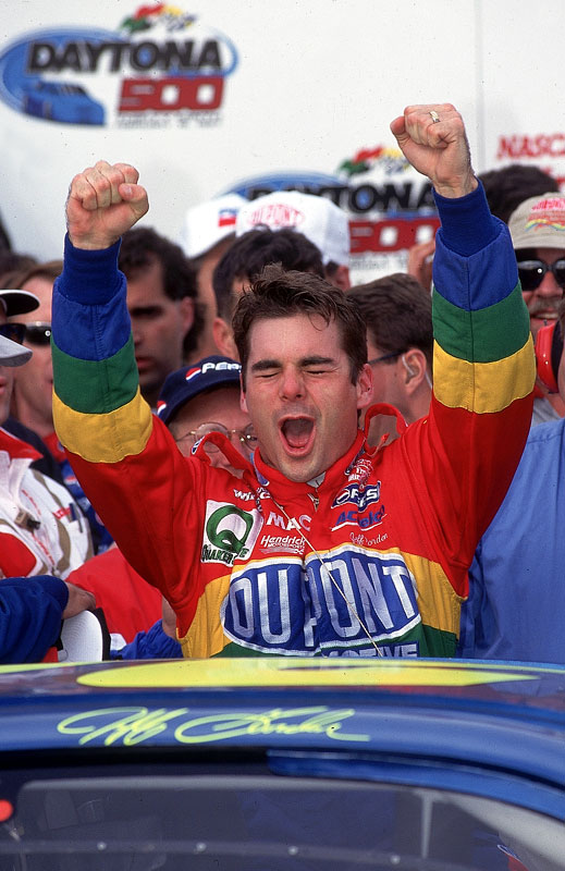 <p>Jeff Gordon becomes the youngest driver to win the Daytona 500.</p>