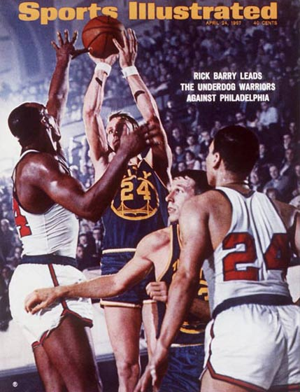 <p>San Francisco Warrior Rick Barry scores52 points against Chicago for his second consecutive 50-point game.</p>