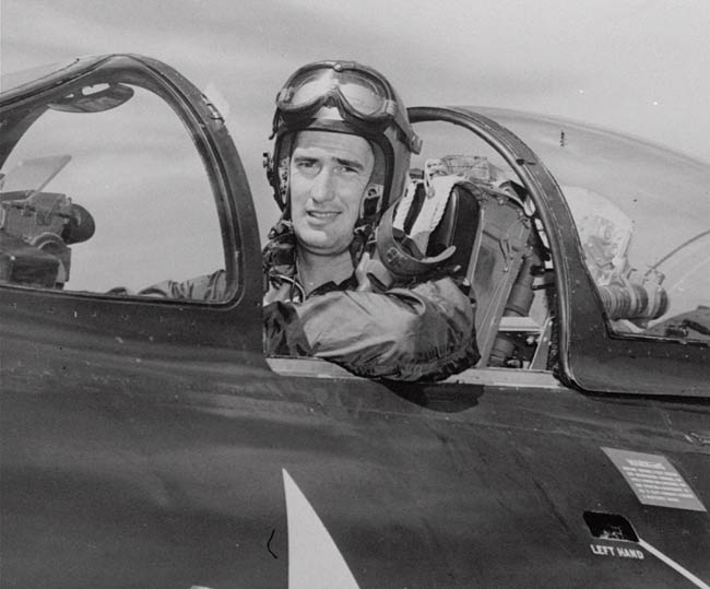 <p>After being hit by enemy fire during a Korean combat mission, Ted Williams safely crash lands his Pather jet.</p>