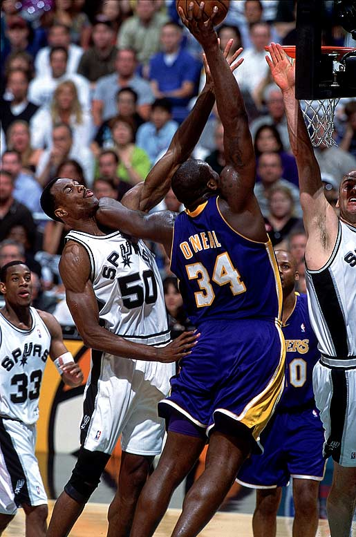 Robinson had a chilly relationship with Shaquille O'Neal, his rival in the pivot and in the Western Conference playoffs during Shaq's time with the Lakers. Apparently upset with the Admiral for his tepid response to O'Neal's autograph request years earlier, Shaq referred to him as ''Punk Ass David Robinson'' in his book <i>Shaq Talks Back</i>. O'Neal also wrote that he wanted to dominate Robinson on the court ''because I got tired of the goody-two-shoes image he was throwing out there.''