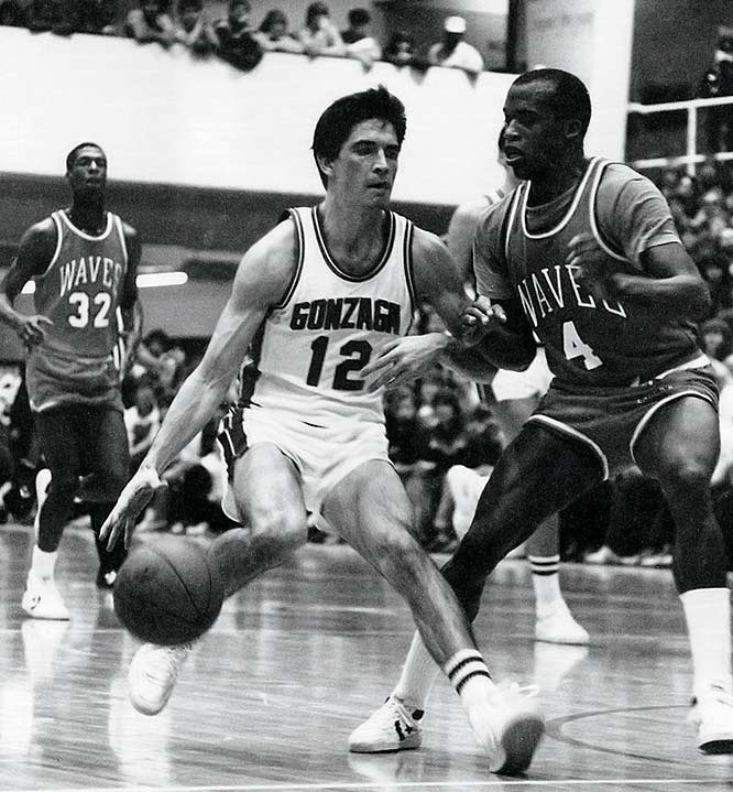 John Stockton, who will be inducted into the Hall of Fame on Sept. 11, played four seasons at his hometown Gonzaga University in Spokane, Wash., before being drafted by the Utah Jazz with the 16th pick in 1984. He finished his career as the school's all-time leader in assists (554) and the sixth-leading scorer (1,340 points).