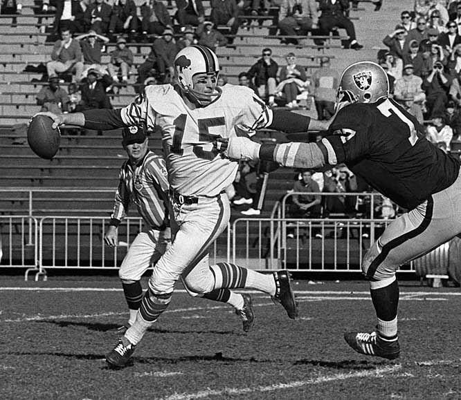 The Bills struggled with mediocrity in the first two AFL seasons, but their fortunes took a sharp turn for the better in 1962, with the arrival of coach Lou Saban, quarterback (and future presidential candidate) Jack Kemp (pictured) and 250-pound power-back Cookie Gilchrist. The trio led the Bills to a playoff game in 1963 and AFL championships in 1964 and 1965. But Buffalo lost to the Chiefs in the 1966 AFL title game, while playing for the right to represent the league in the first Super Bowl. Disappointment has defined the franchise since that loss.