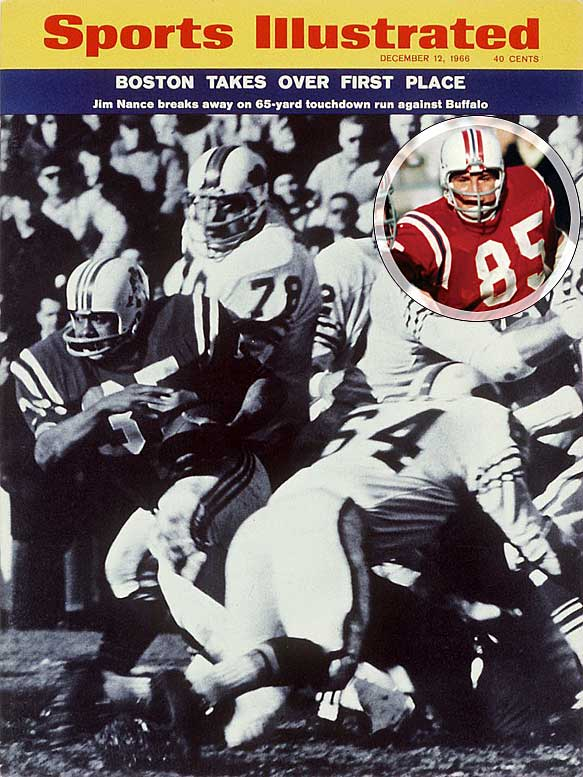 The itinerant Boston Patriots played in four homes (Nickerson Field, Harvard Stadium, Fenway Park and BC's Alumni Stadium) prior to the AFL-NFL merger in 1970. Behind future Hall of Fame linebacker Nick Buoniconti (inset), the Patriots went to the 1963 AFL Championship game. They became the New England Patriots in '71, when their permanent home was built in Foxboro, Mass. The organization was among the most consistent losers in the NFL until Tom Brady stepped on the field in 2001. The Patriots have now appeared in six Super Bowls, tied with Denver for the most by an AFL team, and won three, tied with Oakland for the most by an AFL team.