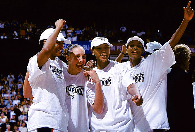 Led by Diana Taurasi, UConn beats Oklahoma, 82-70, to win the national championship.