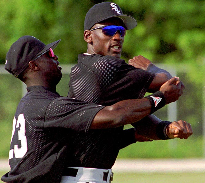 Jordan, pictured here stretching with Mike Cameron, was known in the clubhouse as being a tough customer in Ping-Pong and Yahtzee. ''He's a good guy and I think that he's gone out of his way to try and fit in,'' Barons shortstop Glenn DiSarcina told the <i>Atlanta Journal-Constitution</i>. ''But he's still Michael Jordan. There are still guys in the clubhouse who don't know how to approach him.''