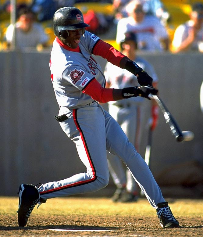"After his season with the Barons, Jordan reported to the Scottsdale Scorpions of the Arizona Fall League. He hit .252 and called himself the team's ""worst player."" In March 1995, in the midst of baseball's eight-month strike, Jordan returned to the NBA via a two-word press release: ""I'm back."""