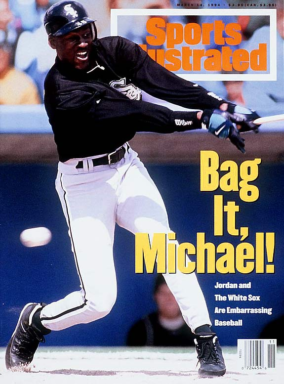 "In taking stock of Jordan's performance early in spring training, <i>Sports Illustrated</i>'s Steve Wulf wrote, ""Michael Jordan has no more business patrolling right field in Comiskey Park than Minnie Minoso has bringing the ball upcourt for the Chicago Bulls."""