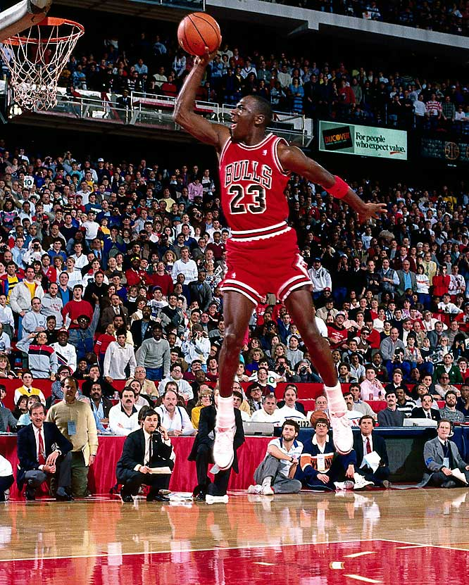 In what's widely regarded as the best dunk contest of all time, Jordan edged Dominique Wilkins in the 1988 event in Chicago. Later that year, Jordan won his first MVP award and lifted Chicago past Cleveland in a first-round series before he and the Bulls were roughed up by the Bad Boy Pistons in the conference semifinals.