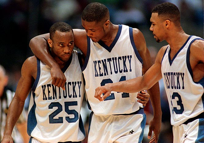 At the 58th NCAA Men's Basketball Championship, Kentucky -- led by Antoine Walker (middle) -- defeats Syracuse 76-67 to capture the national title.