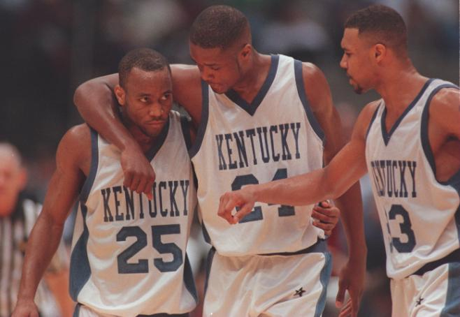 At the 58th NCAA Men's Basketball Championship, Kentucky -- led by Antoine Walker (middle) -- beats Syracuse, 76-67.