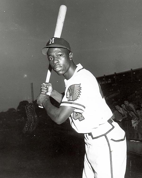 Hank Aaron hit the first of his 755 major-league home runs in a game against the St. Louis Cardinals. (His career total is second only to Barry Bonds.)