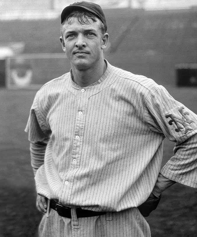 """As charismatic and popular as any player in the early 1900s, Christopher Mathewson won at least 22 games for 12 straight seasons. """"Matty"""" baffled hitters with his """"fadeaway pitch"""" -- known today as a screwball. Throughout his career, he walked 1.6 batters per 9 innings. In 11 World Series games, Mathewson pitched 10 complete games, including four shutouts."""