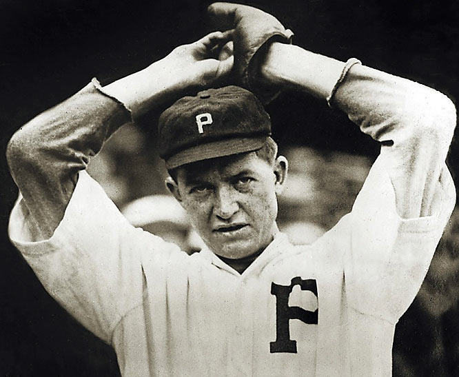 """Grover Cleveland Alexander overcame epilepsy and alcoholism to become one of baseball's greatest pitchers. """"Ol' Pete"""" won 30 or more games each season from 1915-17 and led the league in ERA five times. Alexander is the all-time National League leader in wins and shutouts (90), and his four one-hitters in 1915 and 16 shutouts in 1916 are still major league highs."""