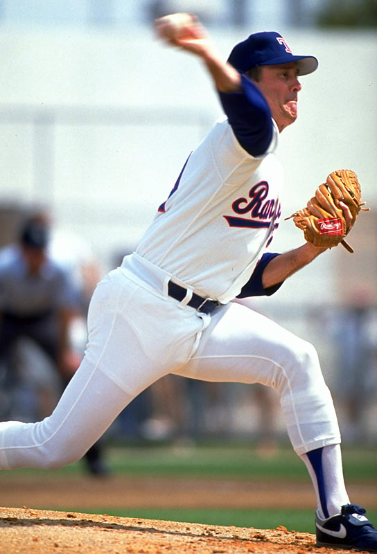 """With a fastball that approached 100 mph and a work ethic like no other, Lynn Nolan Ryan dominated hitters for 27 seasons on his way to 5,714 strikeouts. """"The Ryan Express"""" led the league in strikeouts 11 times and topped 300 strikeouts six times, including a record 383 in 1973. Among Ryan's 324 wins are seven no-hitters and 12 one-hitters."""
