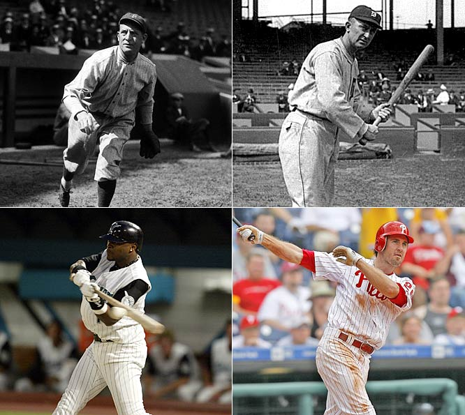 Four different players have compiled streaks that lasted 35 games total. Clarke was a premier hitter in his time -- batting over .300 in 11 different seasons -- and was inducted to the Hall of Fame in 1945. For Cobb, this was only the second-longest hitting streak of his career (he made it to 40 games in 1911). Castillo's streak is the longest ever by a Latin player and is tied for the longest ever by a second baseman with Chase Utley.