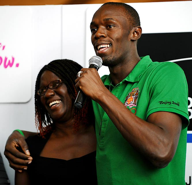Olympic gold medalist sprinter Usain Bolt with his mother, Jennifer.
