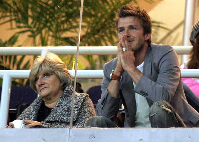 David Beckham watches a La Liga match between Real Madrid and Real Zaragoza with his mother, Sandra.