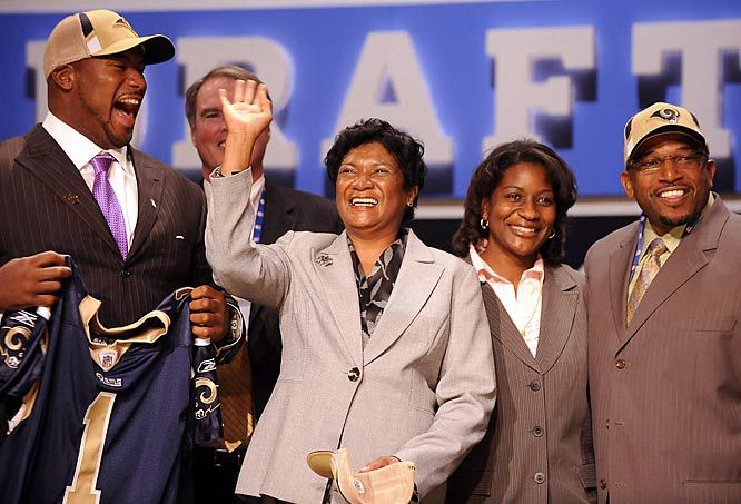 The second pick in the 2009 draft, Jason Smith celebrated on stage at Radio City with his family.