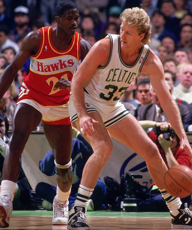 In one of the great head-to-head showdowns in NBA playoff history, Larry Bird and Dominique Wilkins took turns making one dazzling play after another as the Hawks challenged the four-time defending conference champions for East supremacy. Their fan-friendly duel reached a climax in Game 7, when Wilkins scored 47 points on 19-for-23 shooting -- but Bird countered with 20 of his 34 points in the fourth quarter to lift the Celts to a 118-116 victory.
