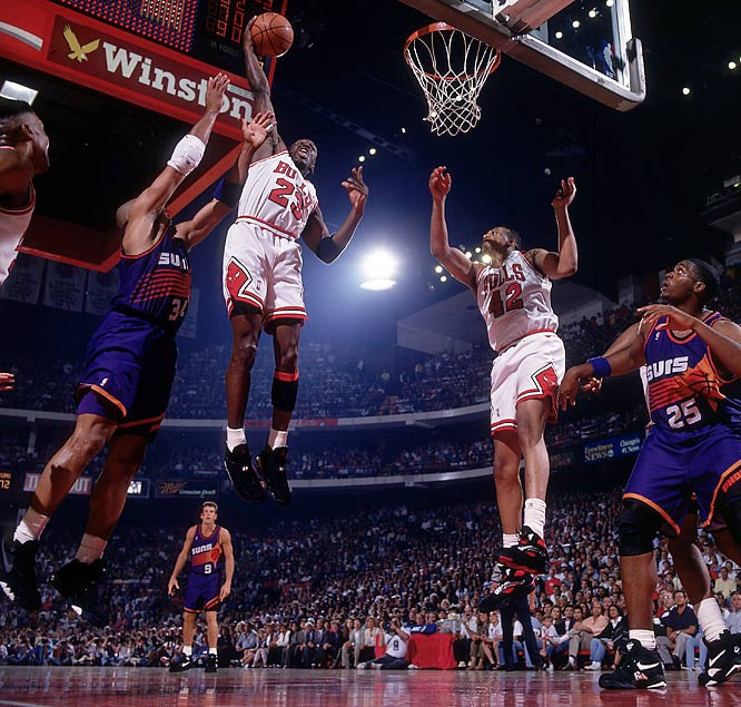 John Paxson's championship-clinching three-pointer in Game 6 at Phoenix finished off a highly competitive series in which the road team won five of six games; the Suns won a triple-overtime thriller in Game 3; Michael Jordan scored 55 points in a tight Bulls victory in Game 4; and in-his-prime Scottie Pippen and league MVP Charles Barkley both recorded triple-doubles.