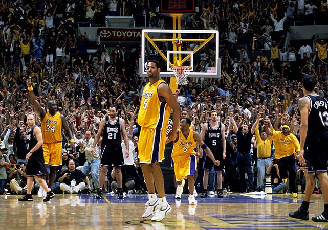 The two-time defending champion Lakers escaped 112-106 in overtime in the deciding Game 7 in Sacramento, a fittingly compelling end to a series marked by controversial officiating and Robert Horry's famous buzzer-beating three-pointer to stun the Kings in Game 4.