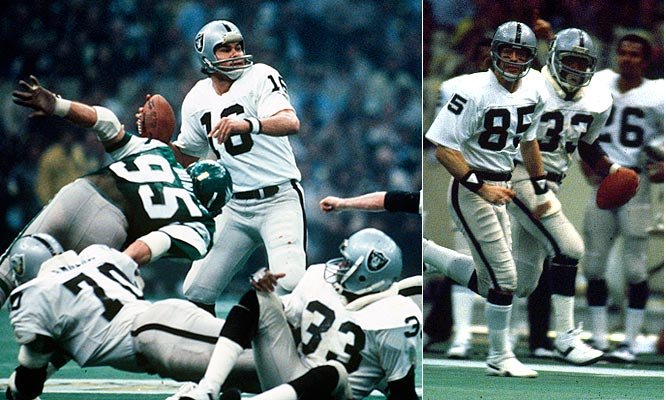 Jim Plunkett threw for three touchdowns -- including an 80-yarder to Kenny King. The touchdown miracle -- the longest play in Super Bowl history at the time --gave the Raiders a 14-point lead in the first quarter, paving the way for the first-ever win by a wildcard team in Super Bowl history.