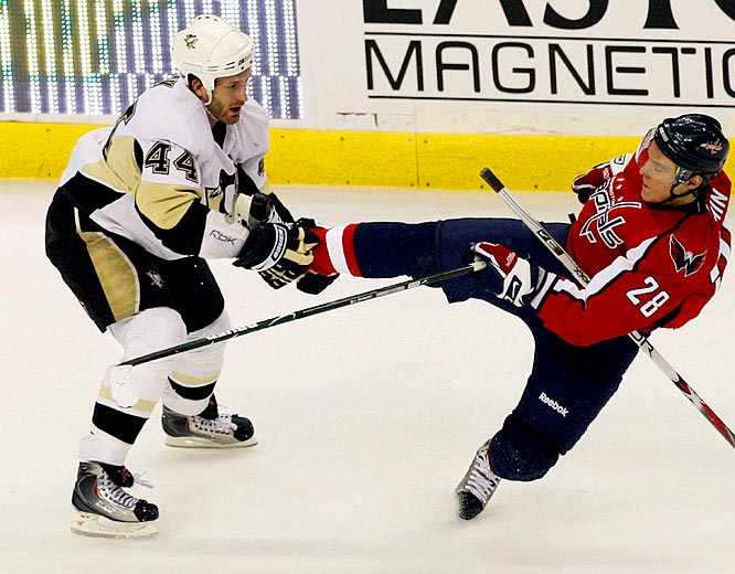 "The Penguins are known for offensive firepower, but Orpik is their brawn. The 6-2, 219-pound black-and-blueliner leads the playoffs with 60 hits after two rounds -- and ranked second with 309 during the regular season. ""I don't think anyone likes to get hit,"" he told the Pittsburgh Post-Gazette. ""But there are some guys, you can get them off their game. Maybe they don't come through the neutral zone with the same speed. Or maybe they take their eye off the puck and turn it over looking for you instead of worrying about making a play."""